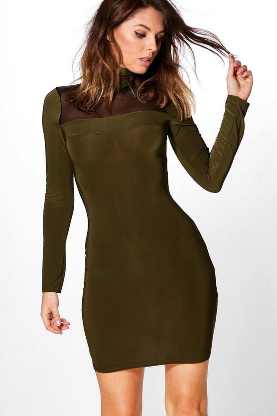 Rita Mesh Front Roll Neck Bodycon Dress