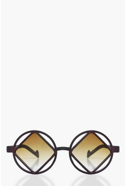 Eva Diamond Cut Out Round Sunglasses