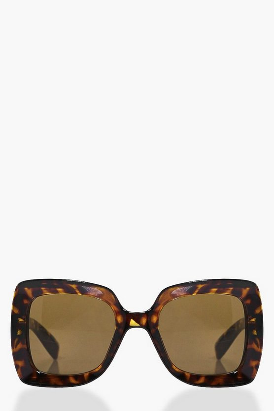 Lexi Leopard Print Oversize Square Fashion Glasses