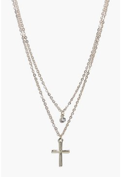 Nancy Diamante And Cross Layered Necklace