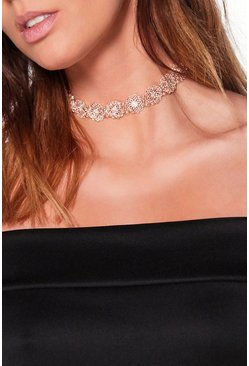 Julia Bridal Ornate Floral Metal Choker