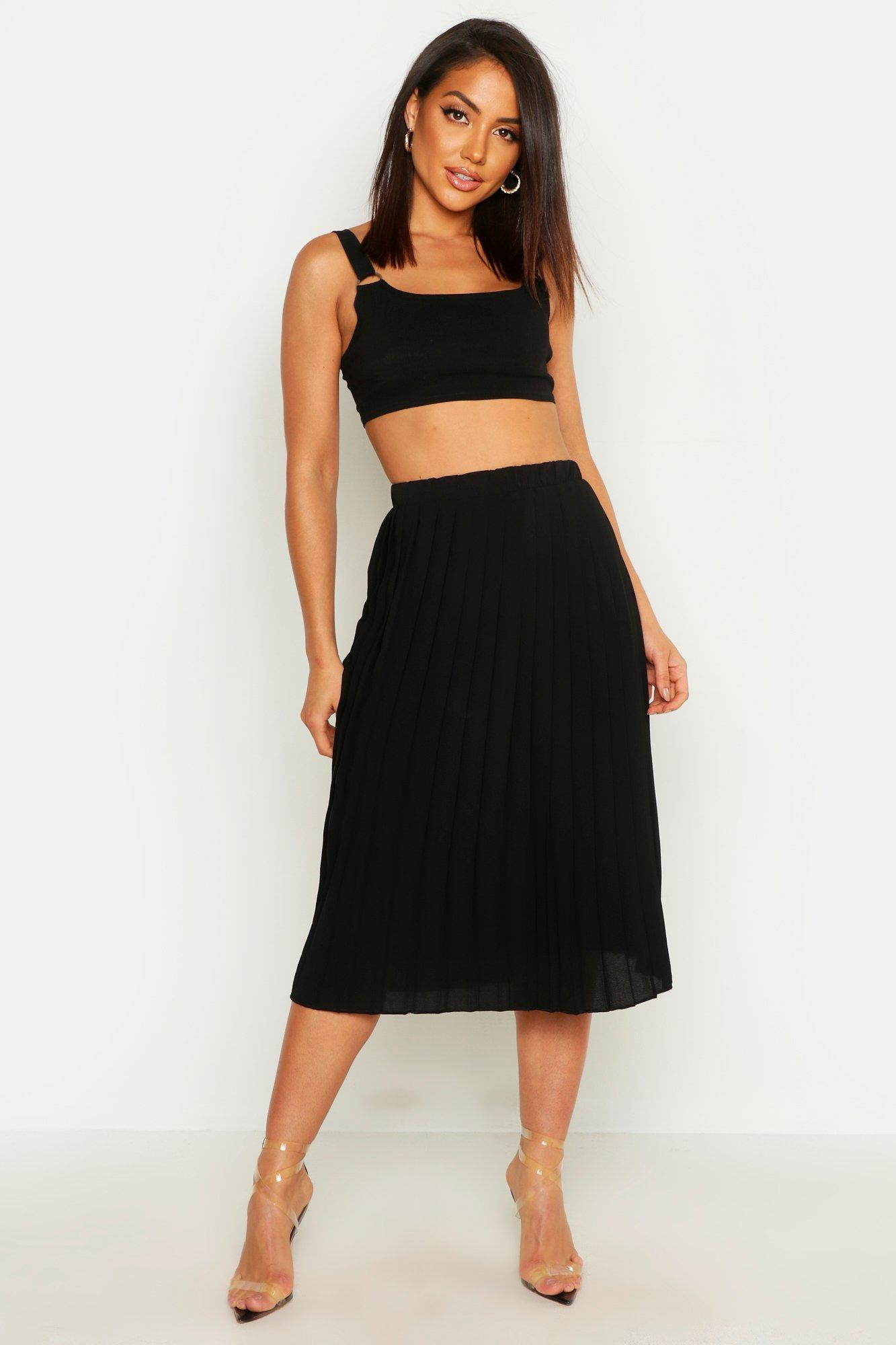 1920s Style Skirts Neave Crepe Pleated Midi Skirt black $35.00 AT vintagedancer.com