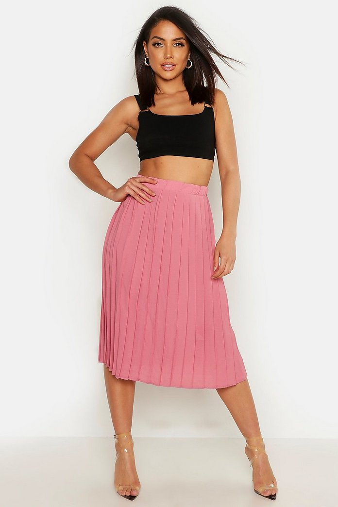 Neave Crepe Pleated Midi Skirt