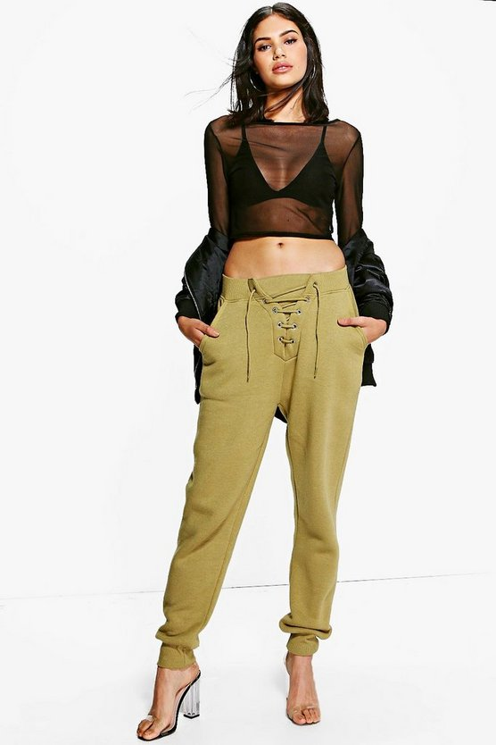 Sofia Lace Up Front Sweat Joggers
