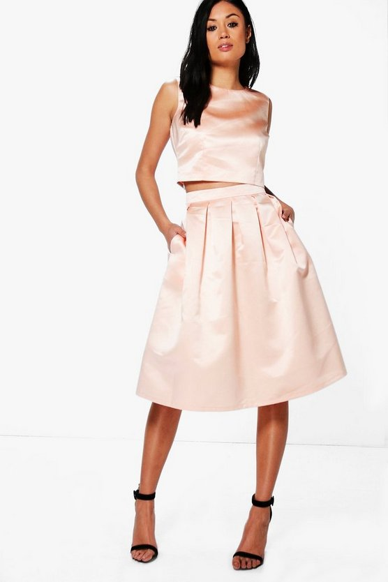 Boutique Arayah Box Pleat Satin Skater Skirt
