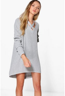 Phoebe Strap Detail Fisherman Knit Jumper Dress