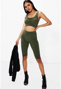 Amina Crop Top & Leggings Rib Knit Co-Ord