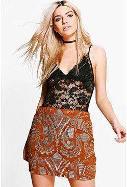 Boutique Petra Embroidered Suedette Mini Skirt