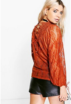 Boutique Ava All Over Lace Tie Back Top