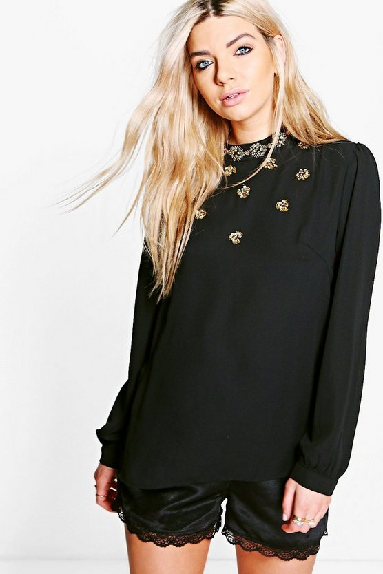 Boutique Jessica Embellished Long Sleeve Blouse