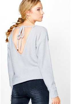Jessica Lace Up Plunge Back Soft Knit Jumper