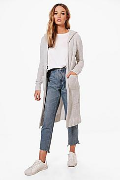 Louise Slouchy Hooded Boucle Cardigan