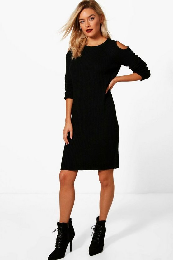 Lottie Cold Shoulder Rib Knit Jumper Dress