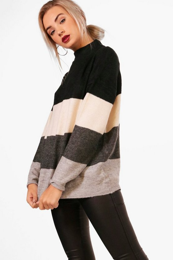 Alice Funnel Neck Loose Fit Stripe Jumper