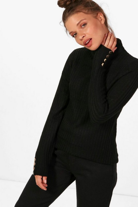 Bethany Rib Jumper With Button Detailed Cuff