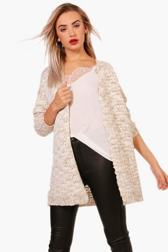 Anna Edge To Edge Slub Yarn Cardigan