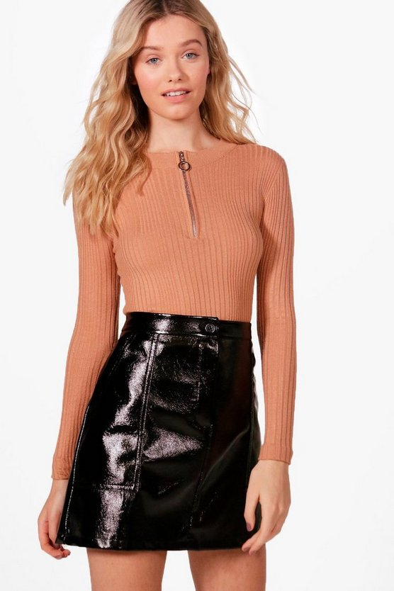 Gabriella Rib Jumper With Zip Front Detail