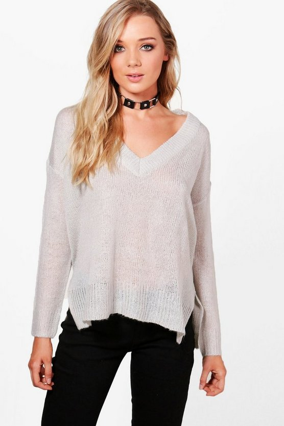 Libby V-Neck Loose Fit Side Seam Jumper