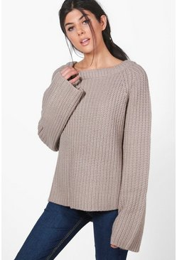 Lily Flare Sleeve Chunky Knit Jumper