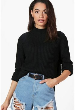 Sophie Rib Detail Funnel Neck Jumper