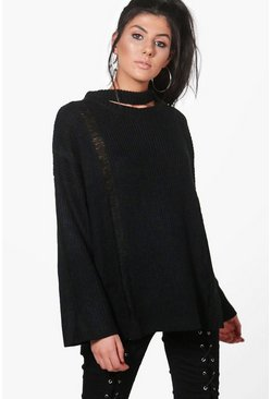 Ava Distressed Choker Jumper