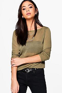Isla Sheer Knit Slash Neck Jumper