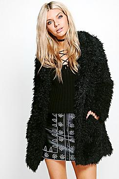 Jennifer Shaggy Faux Fur Coat