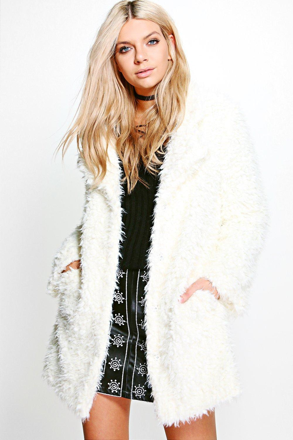 Jennifer Shaggy Faux Fur Coat | Boohoo