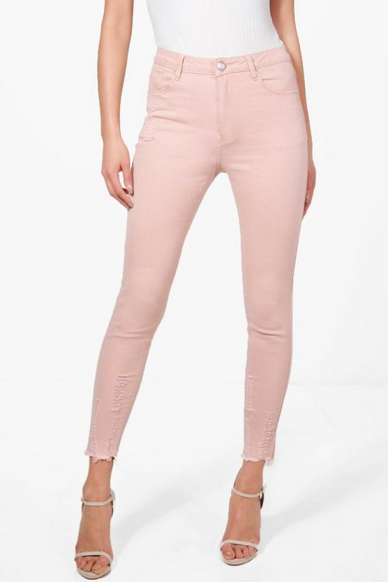 Abby High Waist Destroyed Hem Skinny Jeans