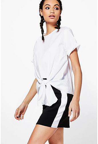 Saige Metallic Rib Contrast Waistband Skater Skirt