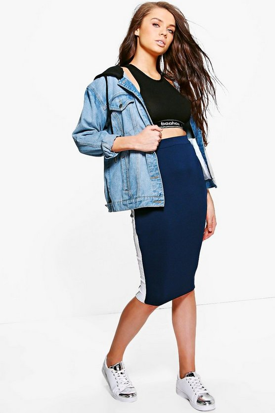 Tanzi Contrast Side Stripe Midi Skirt