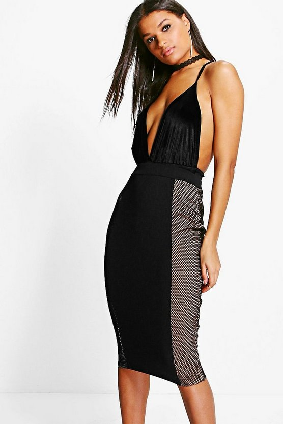 Rosalie Sports Mesh Panelled Midi Skirt