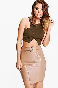 Asha D Ring Leather Look Mini Skirt