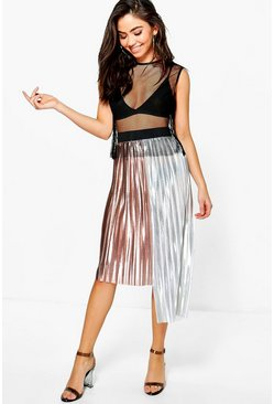 Larna Metallic Pleat Step Hem Skirt