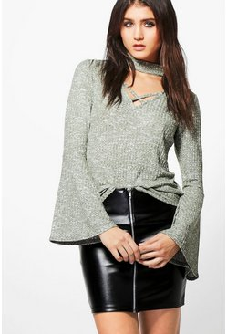 Bethany Cross Front Choker Flute Sleeve Top