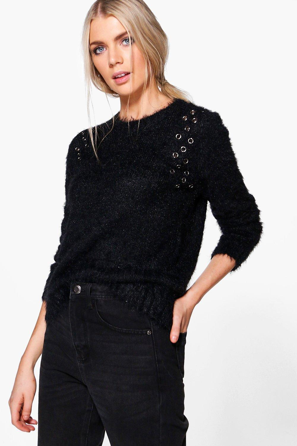 Amelia Fluffy Eyelet Detail Knit Jumper