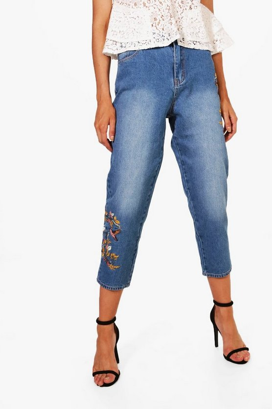 Kayla Embroidered Mom Jeans