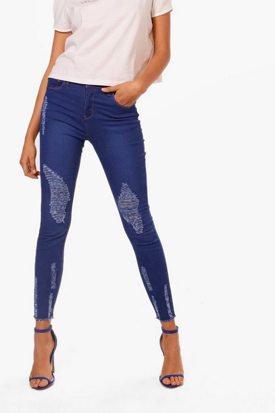 Abby High Waisted Destroyed Hem Skinny Jeans