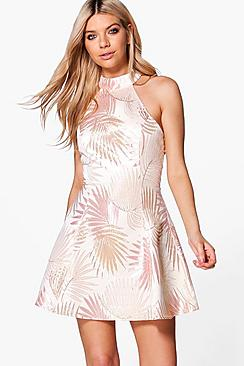 Boutique Dora Metallic Jacquard Skater Dress