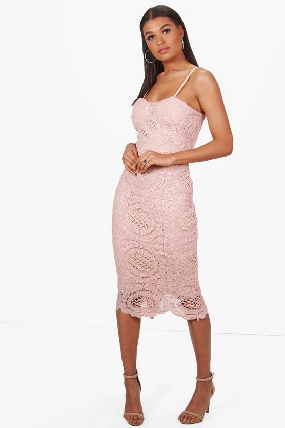 Boutique Nora Bustier Corded Lace Midi Dress