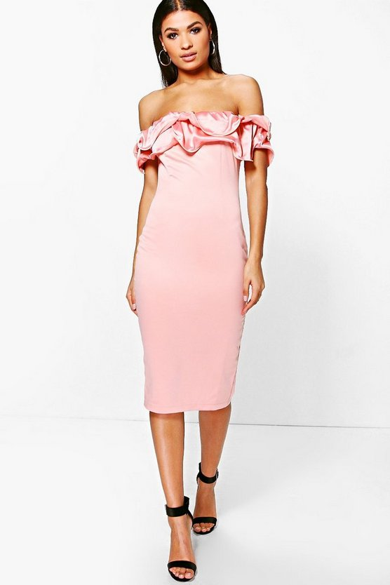 Boutique Orla Off Shoulder Satin Frill Midi Dress