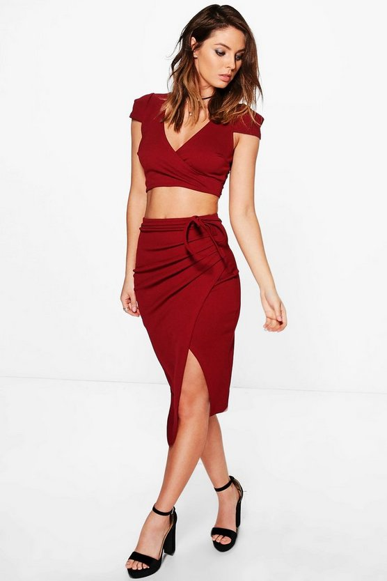 Meg Crop & Rouched Midi Skirt Co-Ord