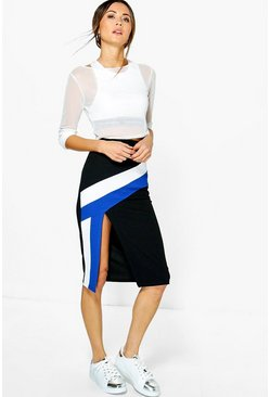 Reine Contrast Panel Split Front Midi Skirt