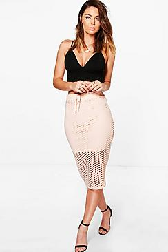 Evelyn Drawcord Sport Mesh Midi Skirt