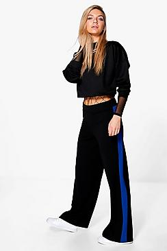 Zahara Contrast Panel Wide Leg Relaxed Trousers