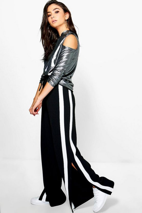 Camellia Contrast Panel Wide Leg Relaxed Trousers