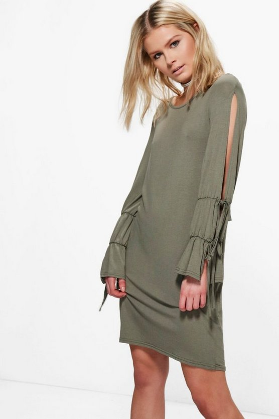 Jenny Split Sleeve Tie Shift Dress