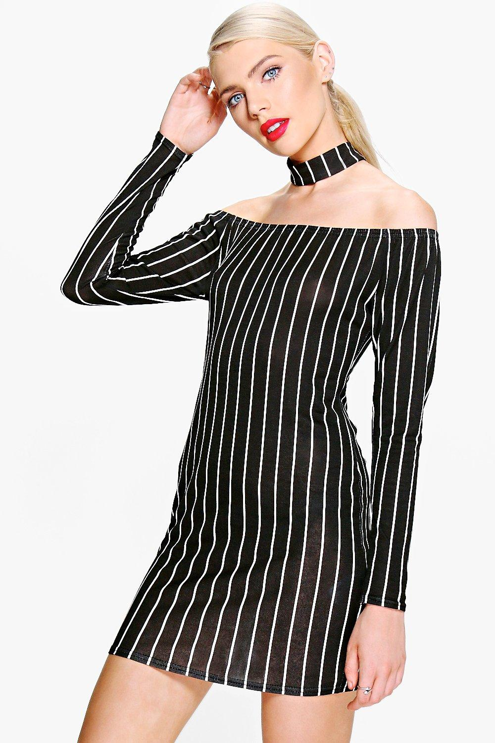 Ro Choker Striped Off Shoulder Shift Dress