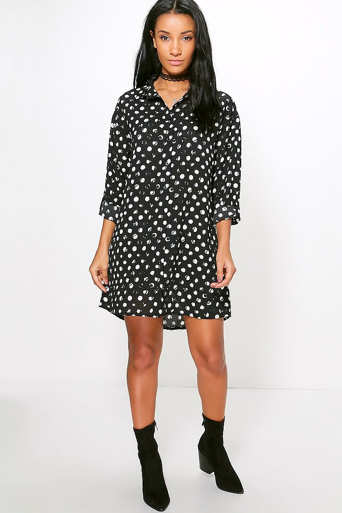 Gaynor Spot Woven Shirt Dress