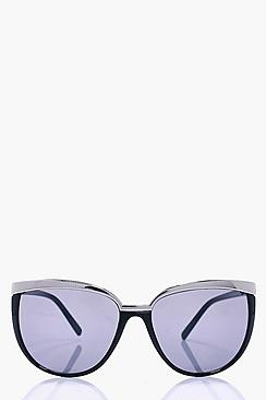 Sophia Metal Brow Black Cat Eye Sunglasses